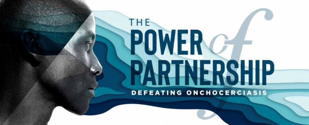 Logo for the symposium called The Power of Partnership. It depicts a womans face in front of blue waves representing flowing water.
