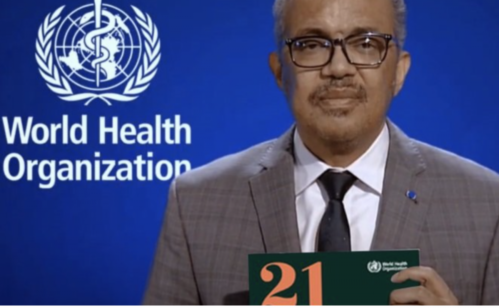 Screen capture of the director-general of W.H.O. He is holding a copy of the road map.
